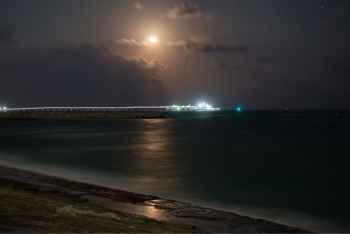 Night Lights Night Sky Moon Moonlight Cloud - Sky Sea Okinawa OKINAWA, JAPAN No People Nikon Nikon D600 D600