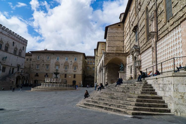 Palazzo Dei Priori in Main Square Perugia, Italy Perugia Unbria Region, Italy Building Exterior Built Structure Architecture Sky Building Group Of People Cloud - Sky City The Past Real People Nature Women Men Crowd Lifestyles Large Group Of People History Day Old Street
