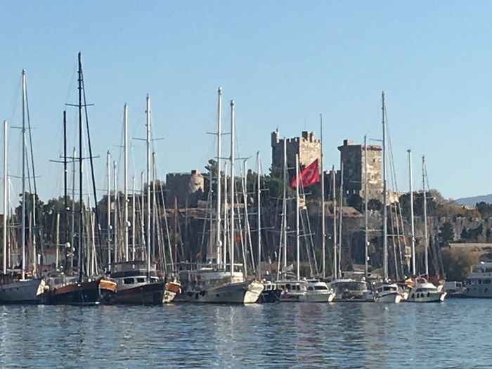 Bodrum #holiday #sailing St.Jhons Castle Bodrum A Sealife Sunset_collection Outdoors Day No People Clear Sky Tranquil Scene Old Sailing Ships Sails Up Moored Live For The Story