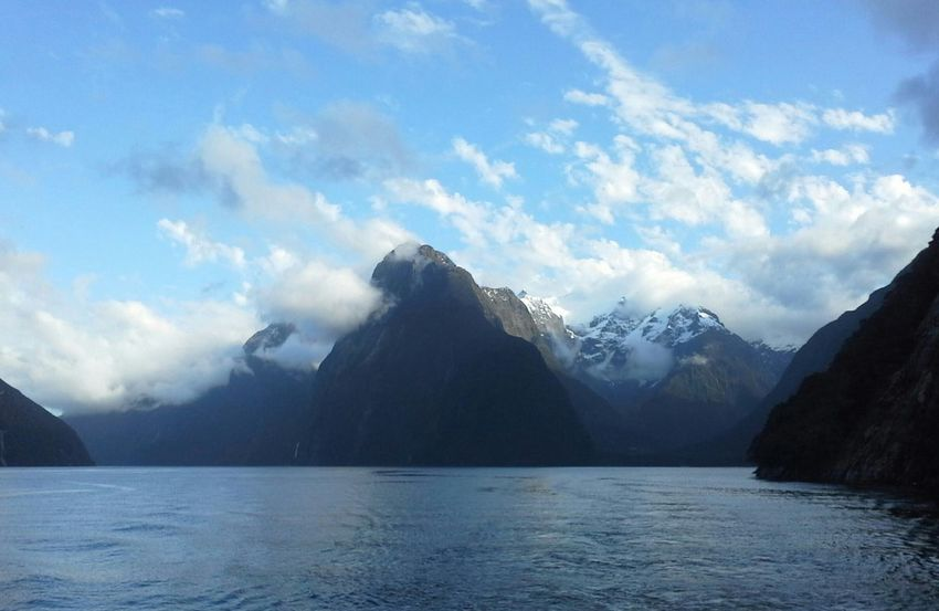 Mitre Peak, Milford Sound New Zealand New Zealand Landscape Cloud - Sky Tranquil Scene Nature Majestic Beautiful Nature EyeEm Best Shots Snowcapped Mountain Water Fjord Milford Sound Relaxing Tranquility Weather Outdoors Landscape New Zealand New Zealand Beauty