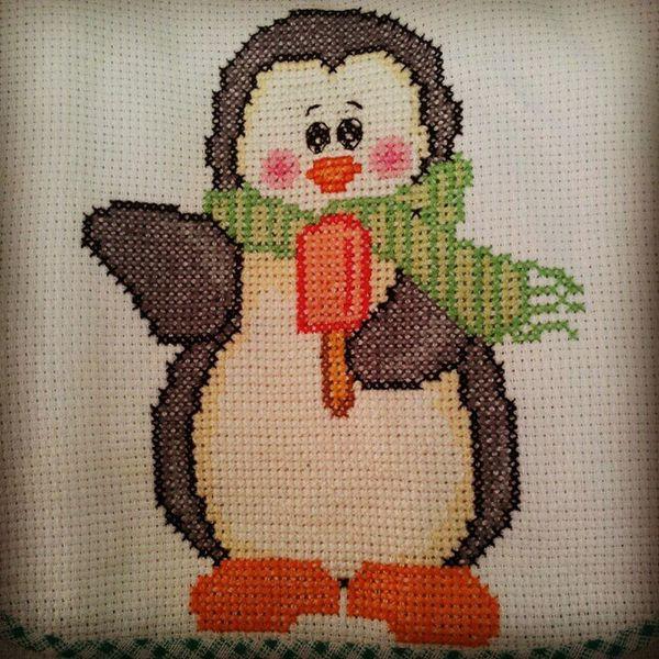 Artesanato Bordado Pontocruz Pinguin