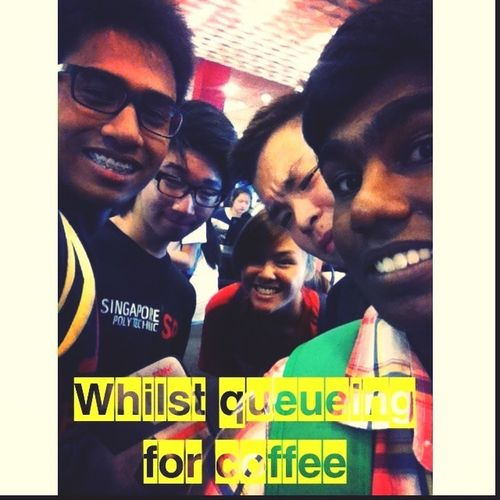 Hanging out with my classmates and queueing for a cuppa joe!