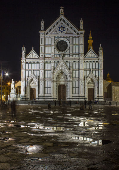 Santa Croce Basilica in Florence (Holy Cross Cathedral) , Italy Basilica Church Firenze Italia Raindrops Santa Croce Cathedral Square Tuscany After Rain Architecture Building Building Exterior Built Structure Church Architecture Façade Florence Holy Cross Illuminated Italy Night Place Of Worship Santa Croce
