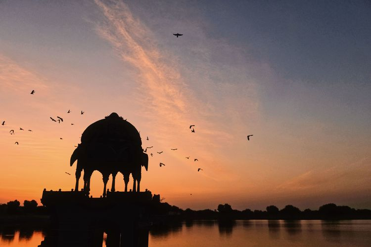 Gadisar Lake during sunrise. Animal Animal Themes Animal Wildlife Animals In The Wild Architecture Beauty In Nature Bird Built Structure Cloud - Sky Flock Of Birds Flying Group Of Animals Large Group Of Animals Nature No People Orange Color Outdoors Silhouette Sky Sunset Vertebrate Water