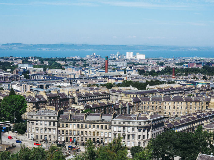 Aerial view of the city of Edinburgh seen from Calton Hill Aerial Shot Architecture Calton Hill Edinburgh Landmarks View Aerial View Landscape View From Above