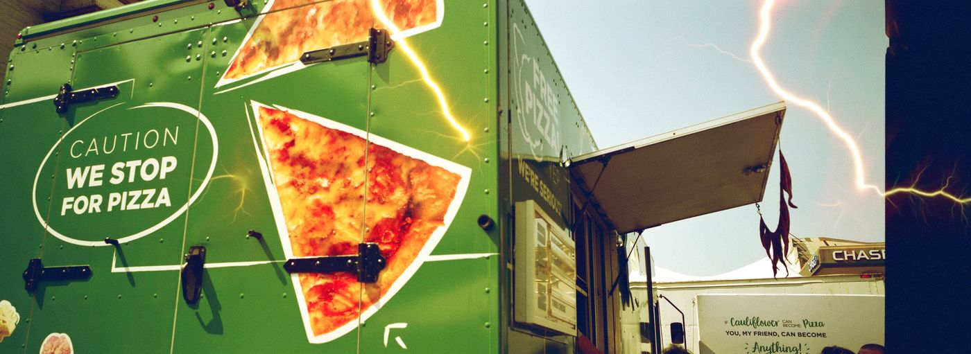 Polk St Pizza Foodtruck Text Communication Transportation