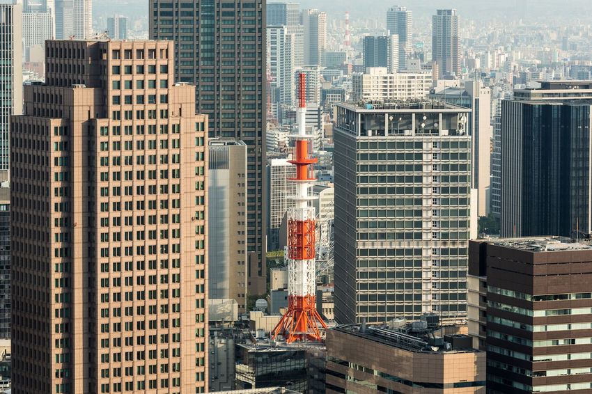 Osaka skyline in the Kansai province of Japan. Osaka is one of Japan largest city. Architecture ASIA Building Exterior Built Structure City Cityscape Day Downtown District Japan Kansai Modern No People Office Building Exterior OSAKA Outdoors Sky Skyscraper Travel Urban Skyline