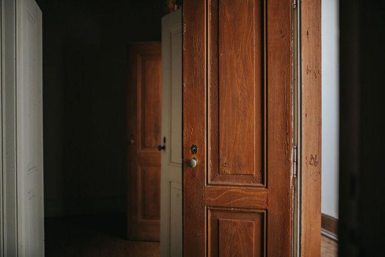 Close-up of door in building