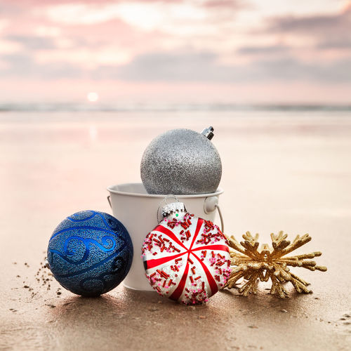 Close-Up Of Christmas Decoration At Beach