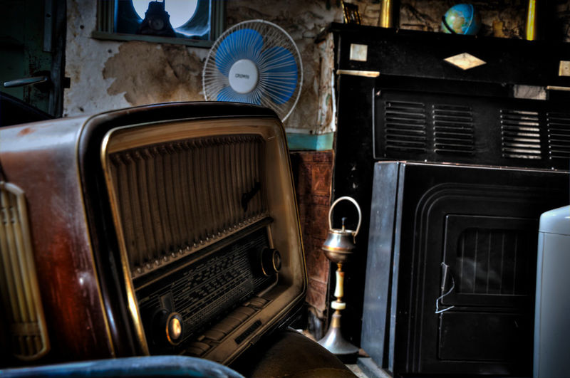 Close-up of old-fashioned radio on table