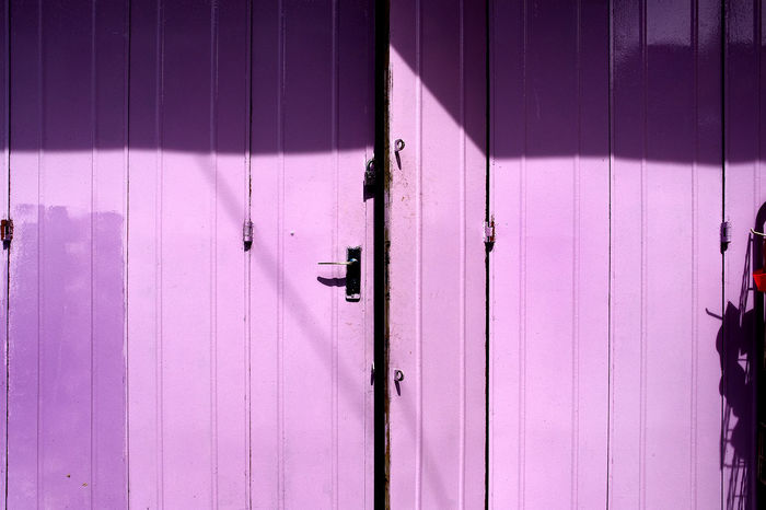 Main Entrance Metal Door Close-up Day Door Light And Shadow No People Outdoors Purple Color Sunny Day