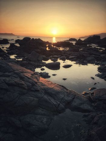 Harvest Moon Sunset Nature Beauty In Nature Tranquil Scene Tranquility No People Outdoors Scenics Rock - Object Sea Water Beach Sky Iceberg Pebble Beach Day Down By The Ocean Saikai City Japan