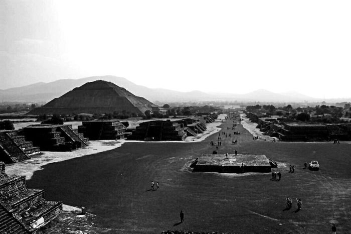 Teotihuacan Piramide Del Sol Sightseeing Breathtaking Black & White Monochrome Epl5