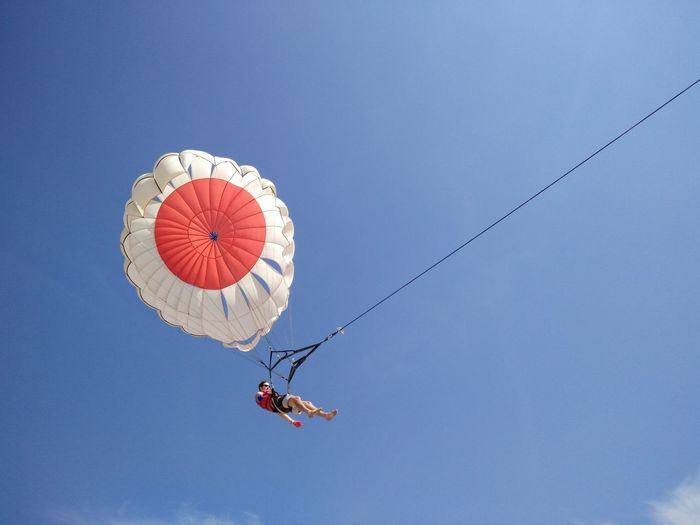 Blue Day Enjoyment Fun Leisure Activity Low Angle View Mid-air Multi Colored Nature Outdoors Red Sky Bali, Indonesia Tanjungbenoa Nusadua Watersports Parasailing