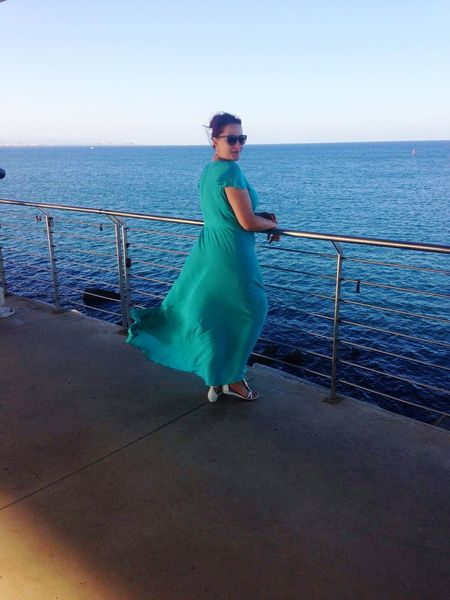 Colour Of Life Woman Dress Long Dress Emerald Blue Sea Seaside Sea View Summer Holidays Colour Palette Color Palette The Magic Mission People And Places