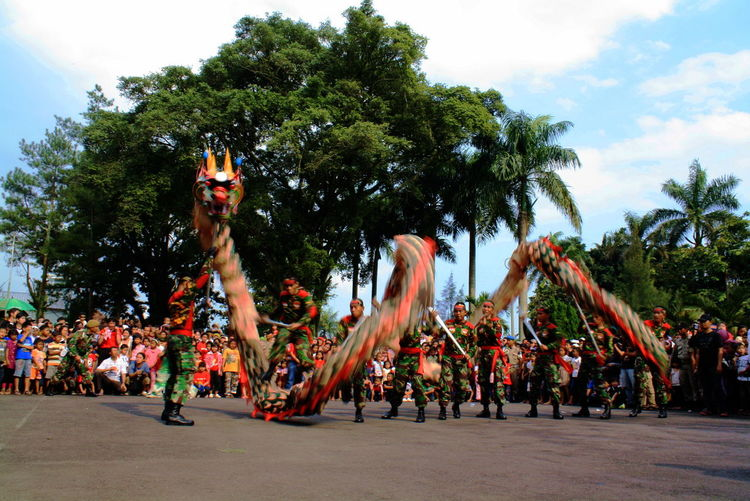 Liong Celebration Crowd Day Large Group Of People Men Nature Outdoors People Real People Sky Tree