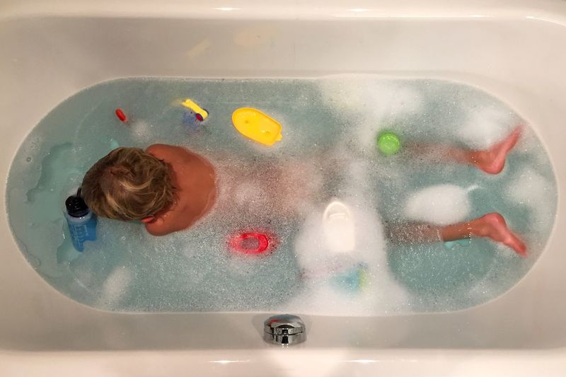 Bath Time Foam Bath From Above  Relaxing Bathtub Bubble Bath Childhood Domestic Bathroom High Angle View Hygiene Leisure Activity Lifestyles One Person Splishsplash Taking A Bath Water Wet Paint The Town Yellow This Is My Skin