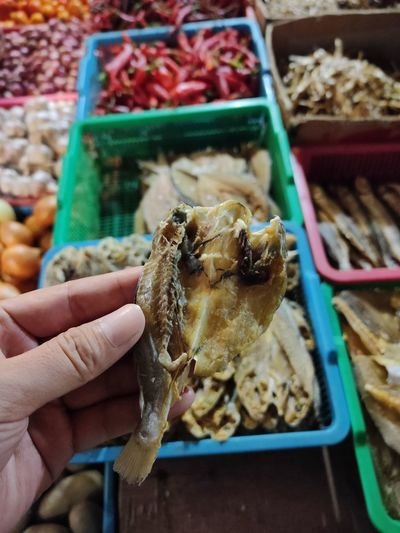 Close-up of hand holding salted fish