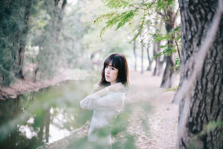 Beauty in White Dress Tree One Person Young Adult Hairstyle Hair Plant Forest Real People Young Women Land Women Beautiful Woman Adult Outdoors