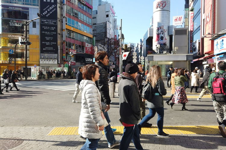 Urban Winter Street City Shibuya Tokyo Japan Shibuya Crossing Shibuya109 Architecture Building Exterior Built Structure City Life Walking People Transportation Group Of People Road Real People Lifestyles Leisure Activity Footpath Motor Vehicle Crowd Women Crossing Adult Outdoors Busy Office Building Exterior