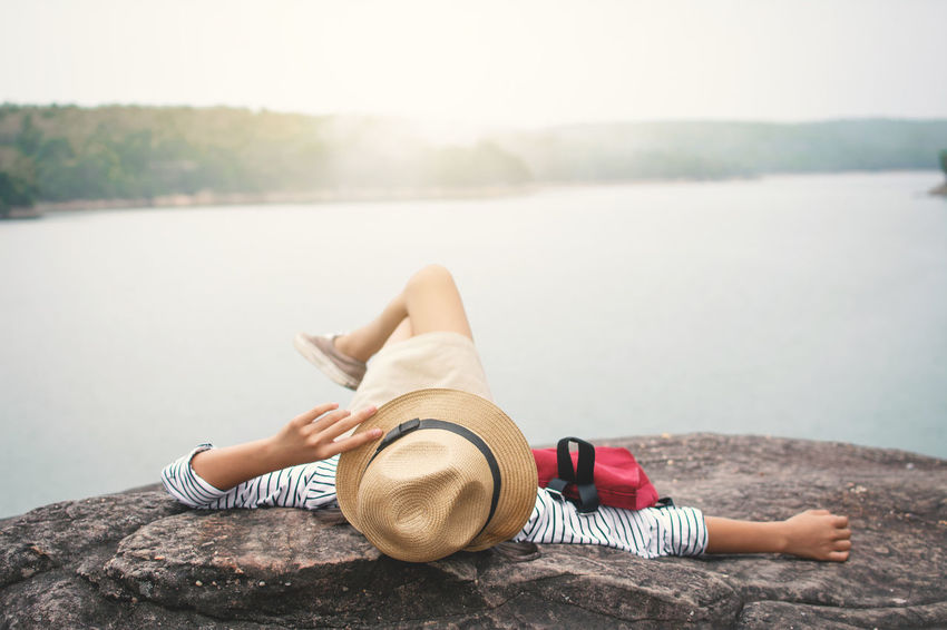 Happiness Relaxing Travel Day Girl Hat Leisure Activity Lifestyles Nature Outdoors Real People Vocation Water Adventures In The City