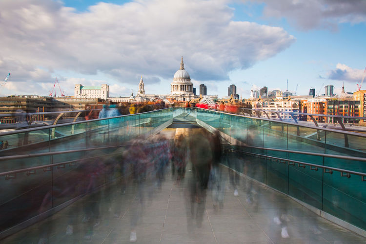 Millennium bridge and st pauls cathedral in london,uk