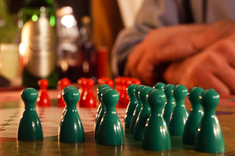 Chess-Piece Arranged On Table
