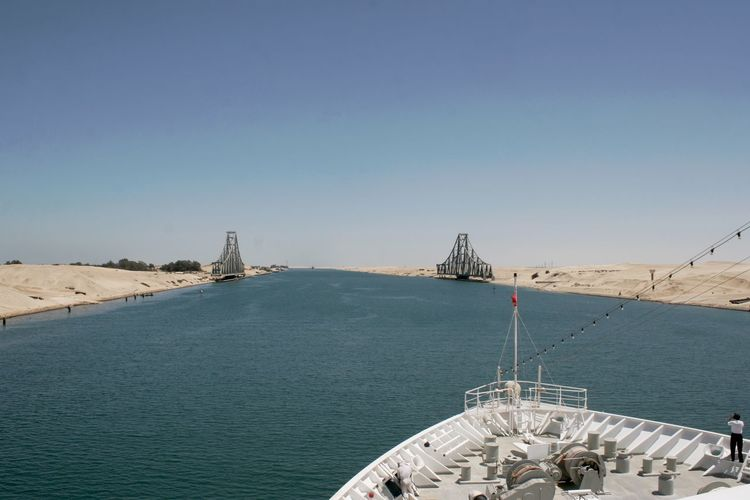 Egypt Sinai Peninsula Blue Clear Sky Day High Angle View Nautical Vessel No People Outdoors Scenics Sea Sky Suez Canal Transportation Travel Destinations Water Waterway