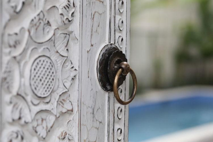 Close-up of metal door knocker