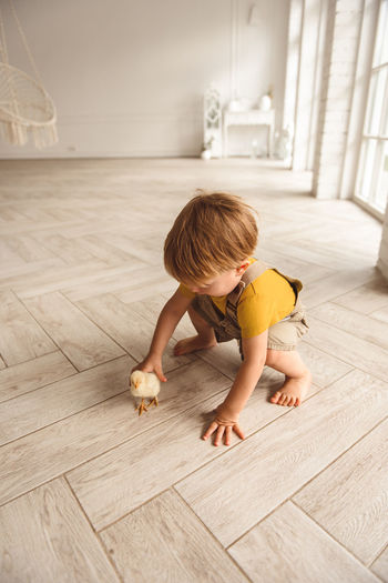 Cute boy playing on hardwood floor at home
