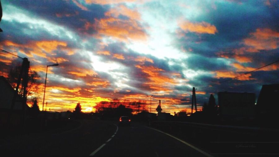 Orange Color Cloud - Sky Sunset Dramatic Sky Road Outdoors Street No People Nature Beauty In Nature Oldpicture Photography