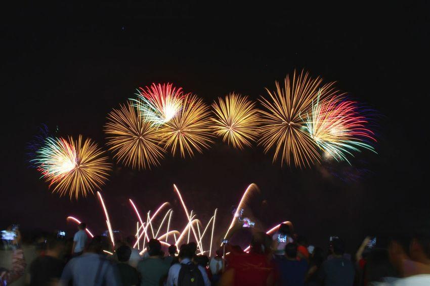 Firework Display Celebration Night Long Exposure Outdoors City Life Cityscape Pyromusical2017 EyeEm Best Shots Fireworks Celebration Longexposurephotography Lights City EyeEm Long Exposure