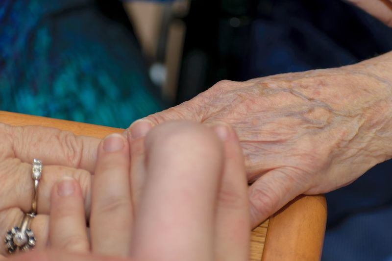 Close-up of woman hand with hands