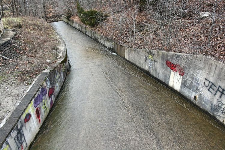 Spillway, Crooked Creek Lake, Indiana Spillway Water Flowing Flowing Water Graffiti Concrete Fall High Angle View Architecture Wall Built Structure Outdoors Canal Wall - Building Feature Day No People
