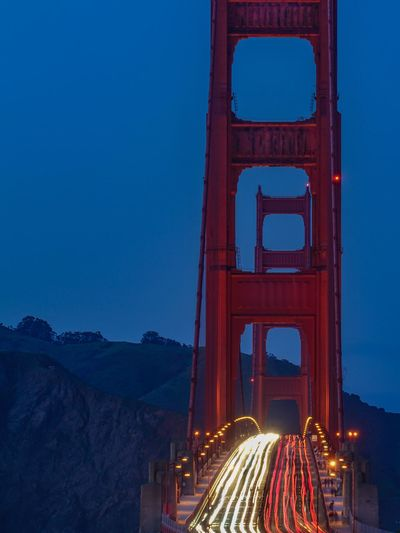 Illuminated Light Trail Night Motion Architecture Transportation Road City Speed Built Structure No People Sky Travel Destinations Nature Red Golden Hour Golden Gate Bridge Rush Hour Blue Traffic Lights San Francisco Long Exposure