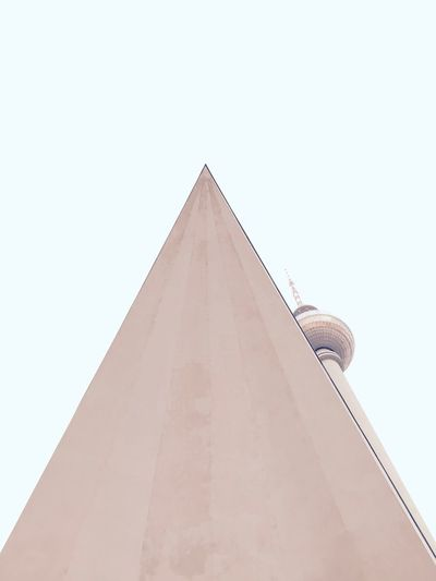 Alexanderplatz Architecture Architecture_collection Berlin Photography Berliner Ansichten Berlinstagram Clear Sky Day Fernsehturm Berlin  Leaning Low Angle View Myfuckingberlin No People Pastel Pastel Colors Pastel Power Sky Unusual Perspective Urban Geometry Urbanphotography The Architect - 2017 EyeEm Awards