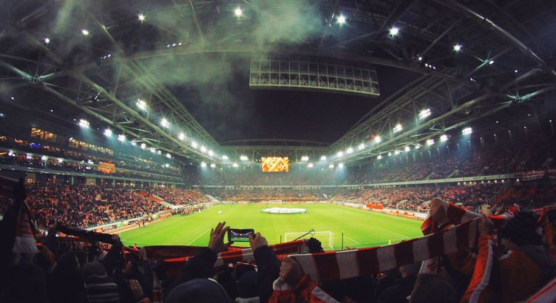 Sport Stadium Soccer Match - Sport Sports Venue Large Group Of People Fan - Enthusiast Night People Audience Sports Team Crowd Outdoors Adult Moscow, Москва Russia россия Stadium Spartak Moscow Red дербивсеяруси