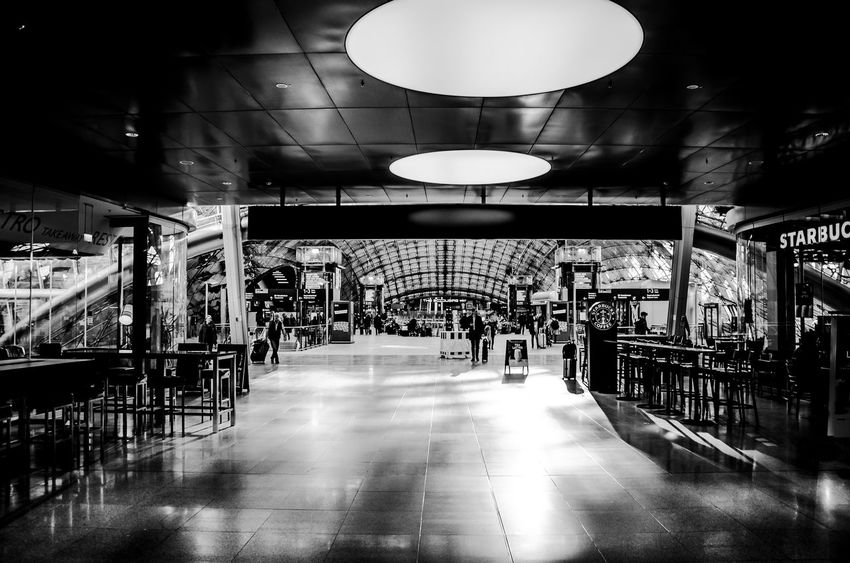 The Squaire Railway Station Frankfurt Airport Architecture Blurred Motion Building Built Structure Business Ceiling Direction Flooring Illuminated Indoors  Light Lighting Equipment Railway Station Sichtmanufaktur Store The Squaire The Way Forward Tile