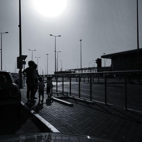 Full Length City Working Silhouette Men Water Sky Railway Bridge