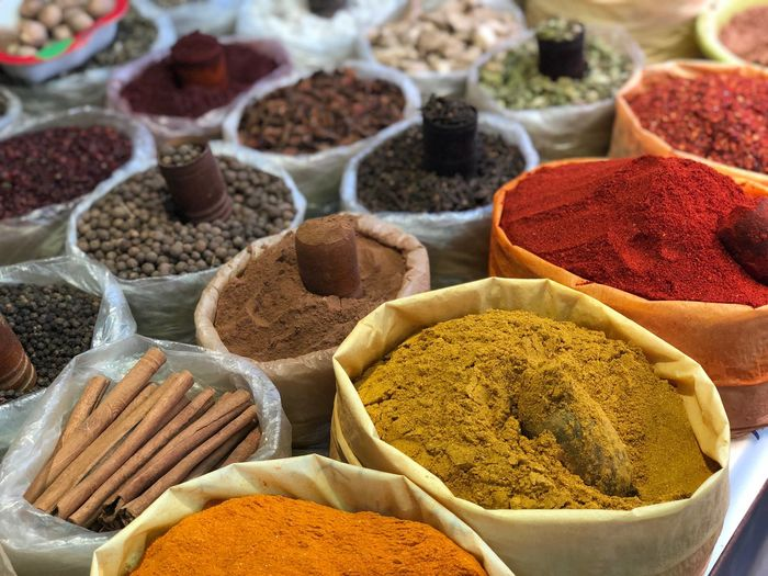 EyeEm Selects Spice Food And Drink Market Choice Food Variation Freshness Multi Colored Dried Food For Sale Market Stall In A Row Wellbeing No People Turmeric  Ingredient Arrangement Close-up Retail  Healthy Eating