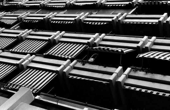 Black & White High Contrast Balcony Blinds Lines