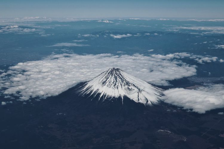 Fujisan Aerial View Beauty In Nature Cloud - Sky Environment Geology High Angle View Idyllic Land Landscape Mountain Mountain Peak Mountain Range Nature No People Non-urban Scene Outdoors Power In Nature Scenics - Nature Sky Snow Snowcapped Mountain Tranquil Scene Volcanic Crater Volcano