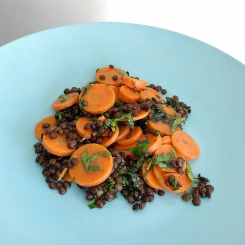 Homemade carrot and lentils salad. Food And Drink Food Healthy Eating Freshness No People Close-up Ready-to-eat Day Lunch Homemade Plate Carrots Lentils Studio Shot High Angle View Vegetable Freshness Orange Color