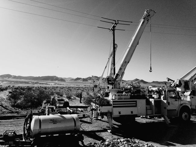 Mountain Range Outdoors Daily Grind  Black And White Blackandwhite Photography People And Places California Ontheroad Shiftwork Work Electric Lines Electricity Wires And Cables Mojave National Preserve Mojav Monochrome Photography