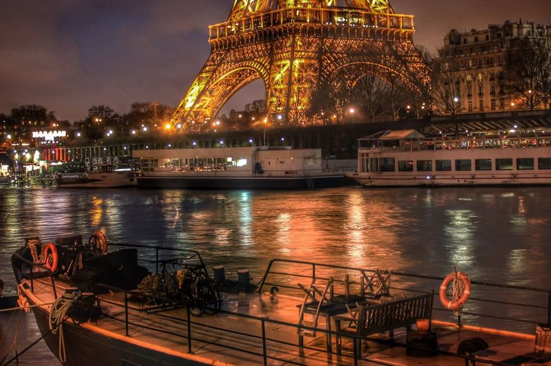 Winter Eiffel Tower Paris France Landscape Relaxing Boat Night Light Long Exposure Photography