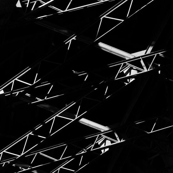 Under A Bridge Lattice Girder High Contrast Blackandwhite Light And Shadow Geometric Abstraction