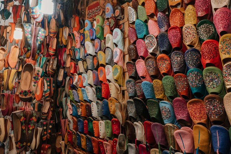 Marrakesh Marrakech Morroco Multi Colored Abundance Large Group Of Objects Choice Variation For Sale Market Stall Market No People Full Frame Shoe In A Row Souk Tourist Destination