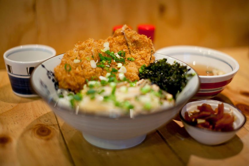 Pork cutlet rice set Indoors  Food And Drink Food Ready-to-eat Bowl Freshness Wellbeing Healthy Eating Selective Focus Still Life Table No People Meal Close-up Asian Food Vegetable High Angle View Plate Japanese Food Crockery Garnish Pork Cutlet