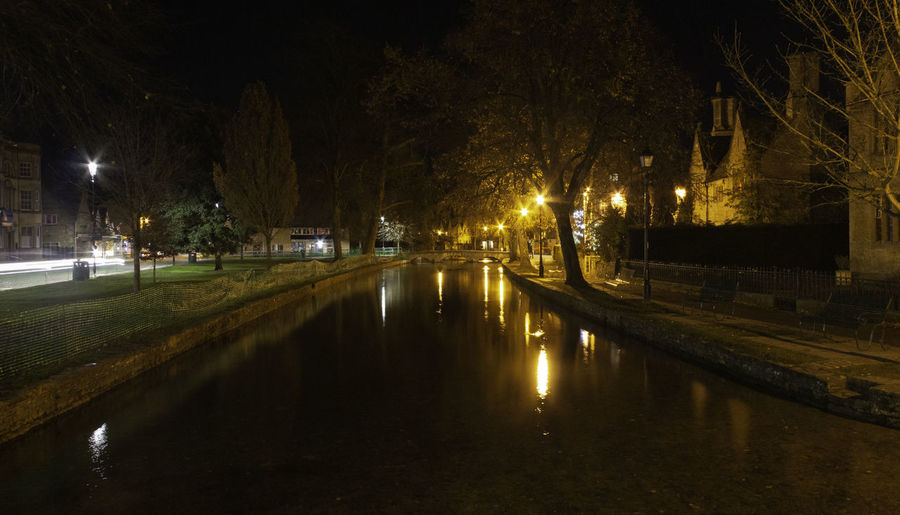 Night Water Reflection Street Light River Orange Color Bourton On The Water Cotswolds