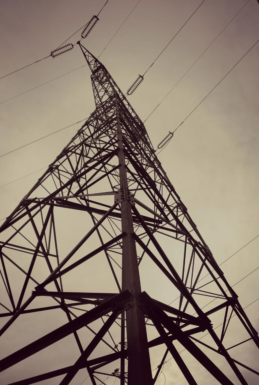 cable, electricity, electricity pylon, connection, low angle view, power supply, tower, technology, power line, no people, sky, fuel and power generation, day, outdoors, tall, complexity
